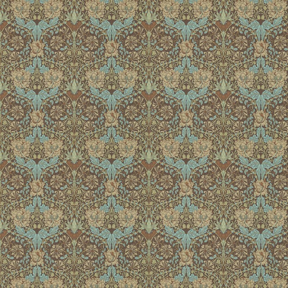 Morris Honeysuckle and Tulip Taupe / Aqua Wallpaper - Product code: 214702