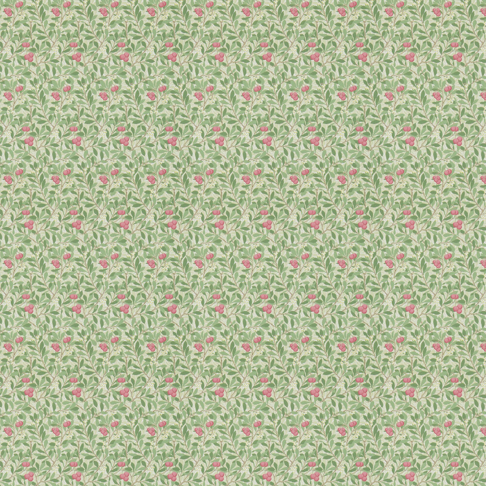 Arbutus Wallpaper - Olive / Pink - by Morris