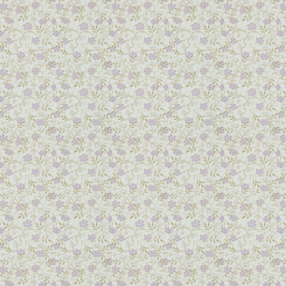Jasmine Wallpaper - Lilac / Olive - by Morris