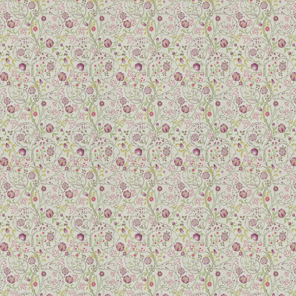 Morris Mary Isobel Wine / Linen Wallpaper - Product code: 214727