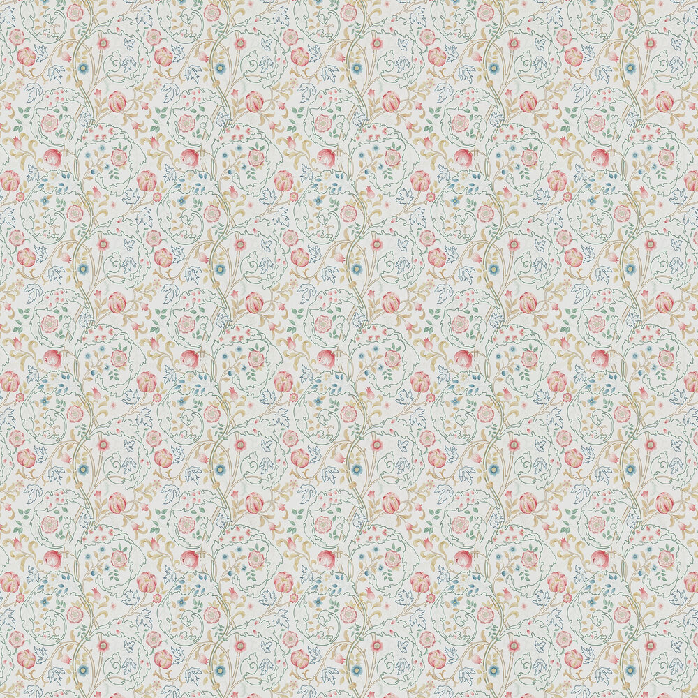 Mary Isobel Wallpaper - Pink / Ivory - by Morris