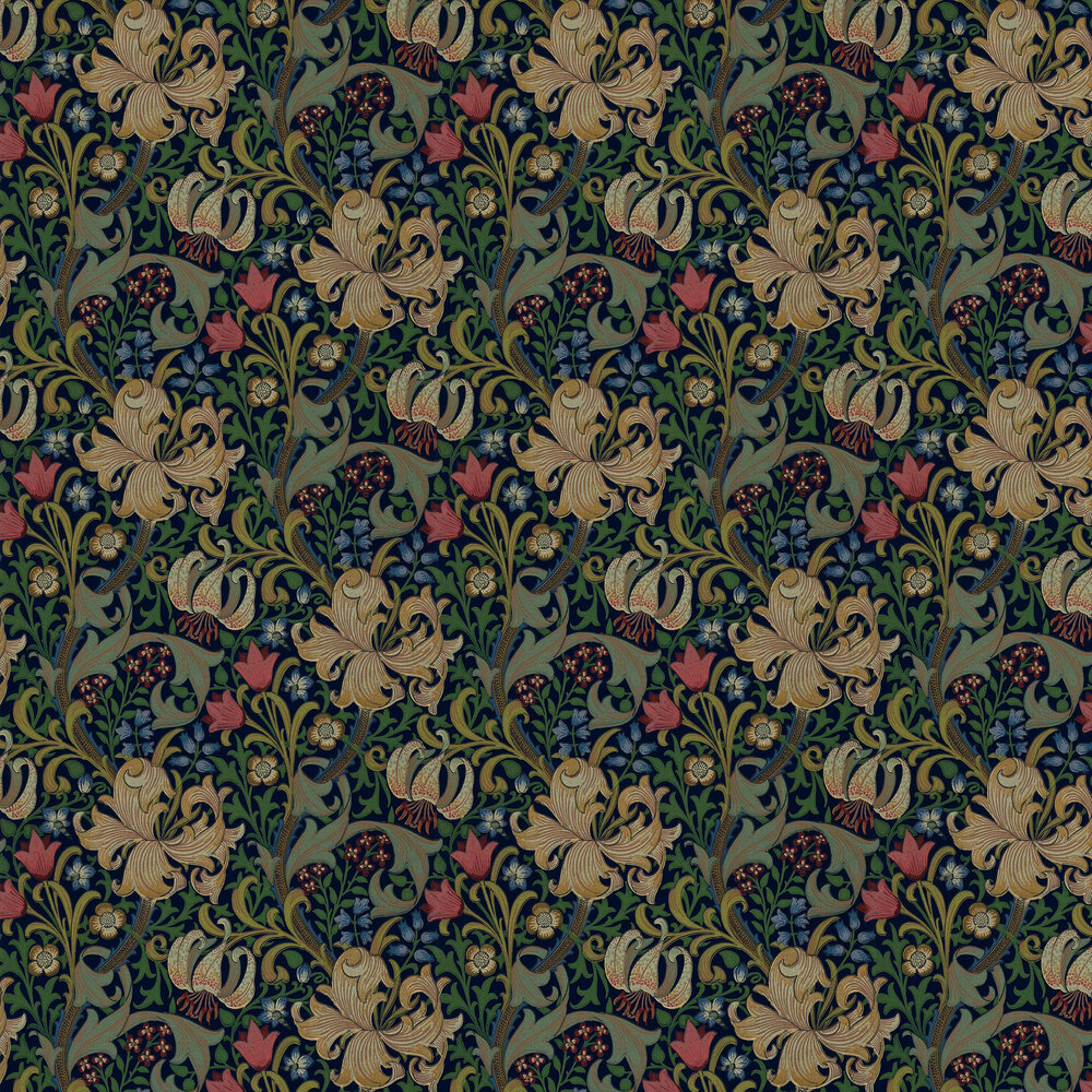 Morris Golden Lily Indigo Wallpaper - Product code: WM8556/1