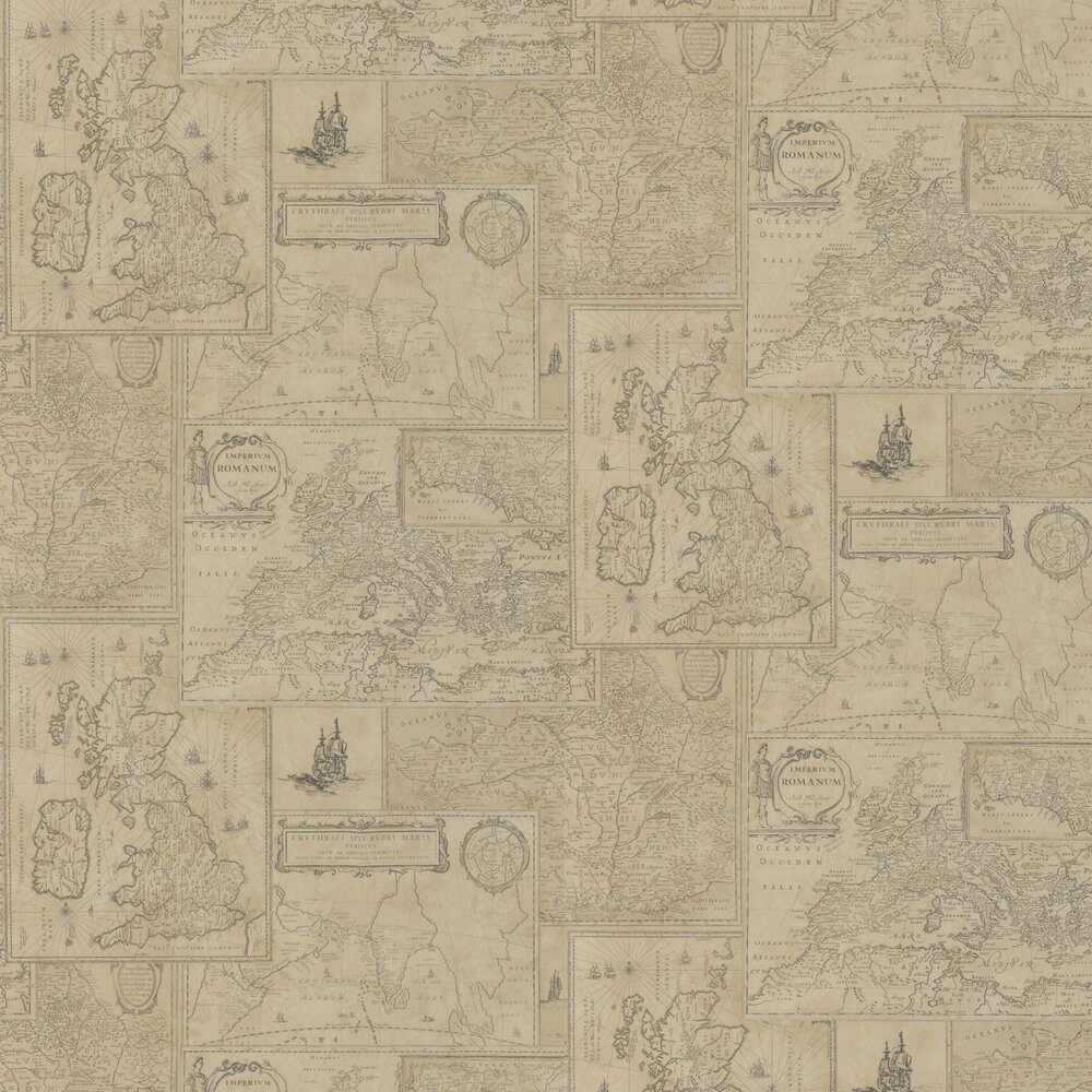 Mulberry Home Bohemian Travels Parchment Wallpaper - Product code: FG077J107