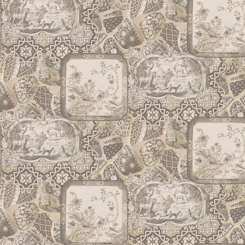 Mulberry Home Mulberry China Silver / Taupe Wallpaper - Product code: FG080J80