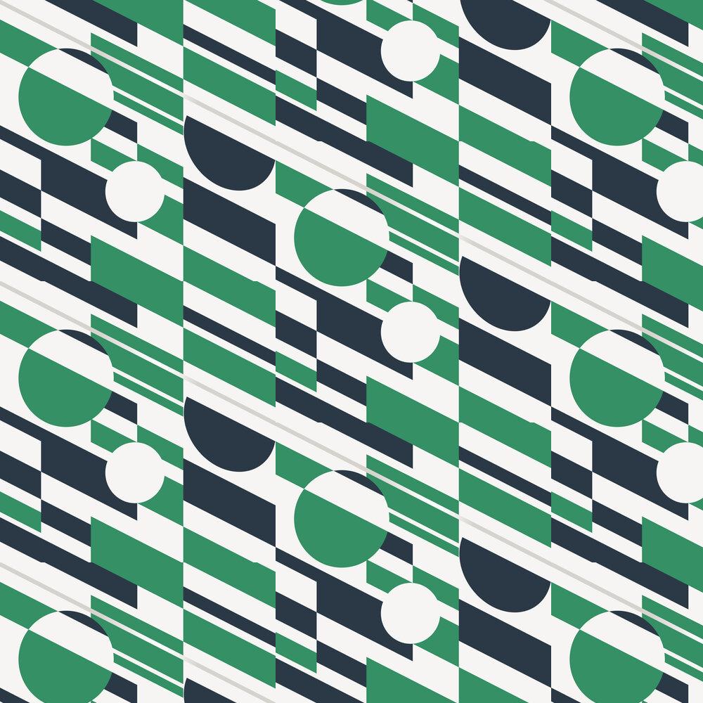 P.L.U.T.O Wallpaper - Coach Emerald and Silver - by Mini Moderns