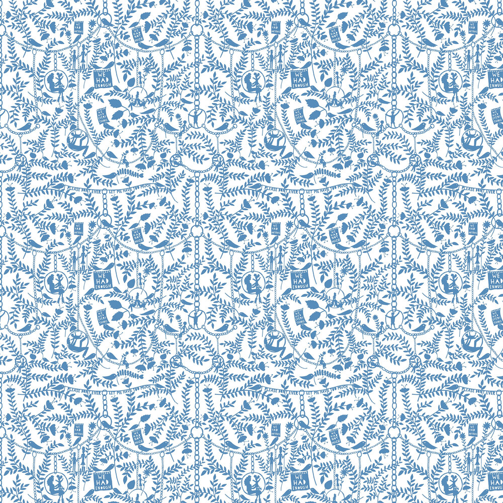 We Had Everything Wallpaper - China Blue - by Mini Moderns