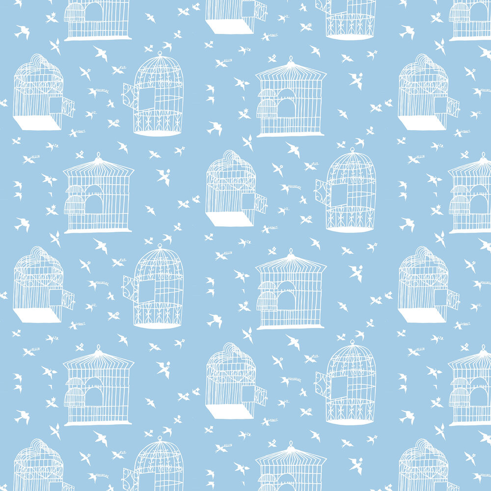 Our Adventure Wallpaper - Sky Blue - by Mini Moderns
