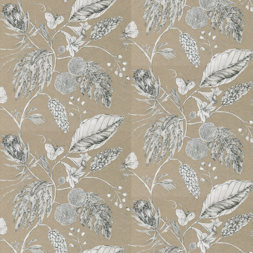 Amborella Wallpaper - Pebble - by Harlequin