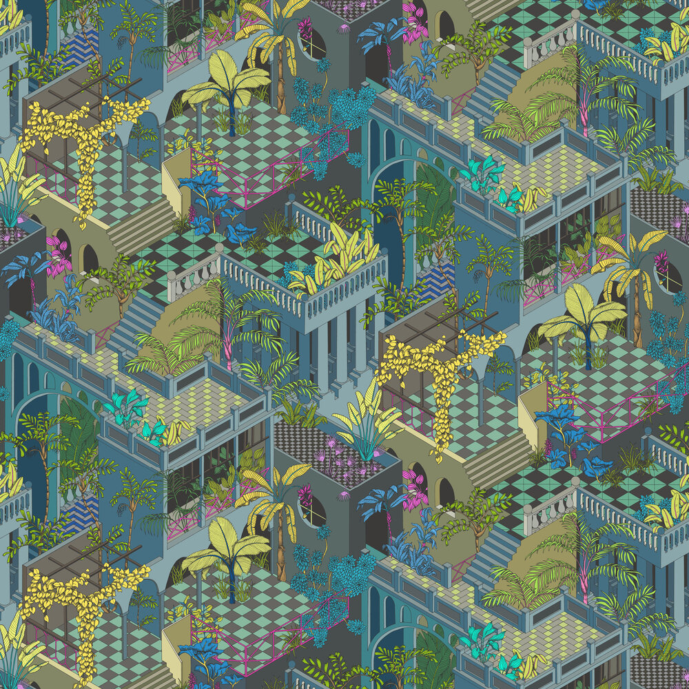 Miami Wallpaper - Navy and Pink - by Cole & Son