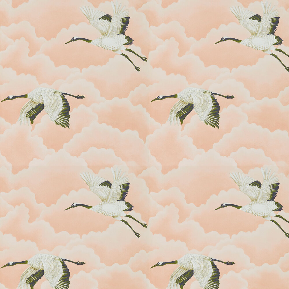 Cranes In Flight Wallpaper - Blush - by Harlequin