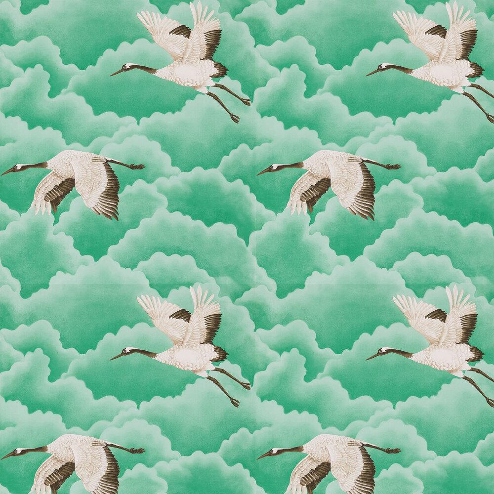 Cranes In Flight Wallpaper - Emerald - by Harlequin