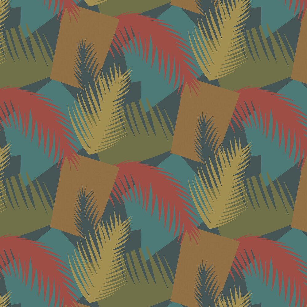 Cole & Son Deco Palm Red and Blue Wallpaper - Product code: 105/8039