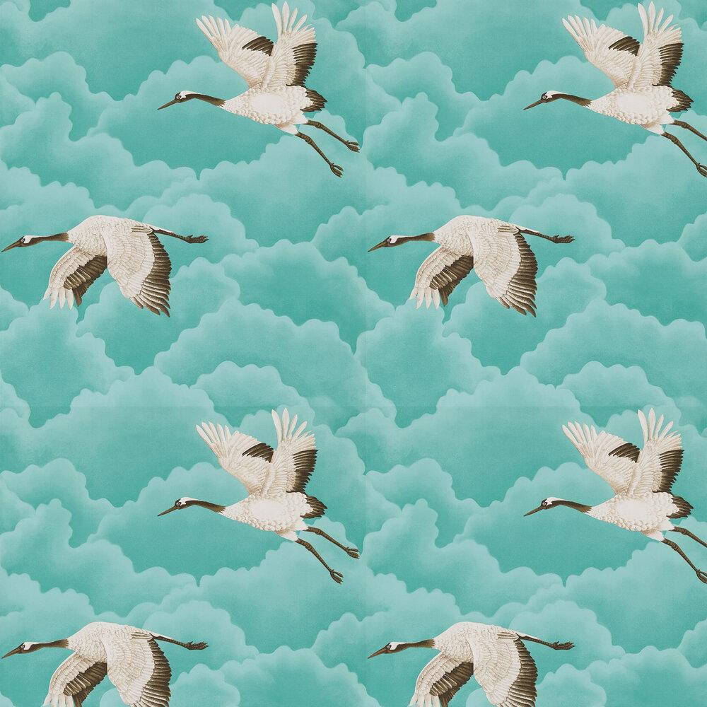 Cranes In Flight Wallpaper - Marine - by Harlequin