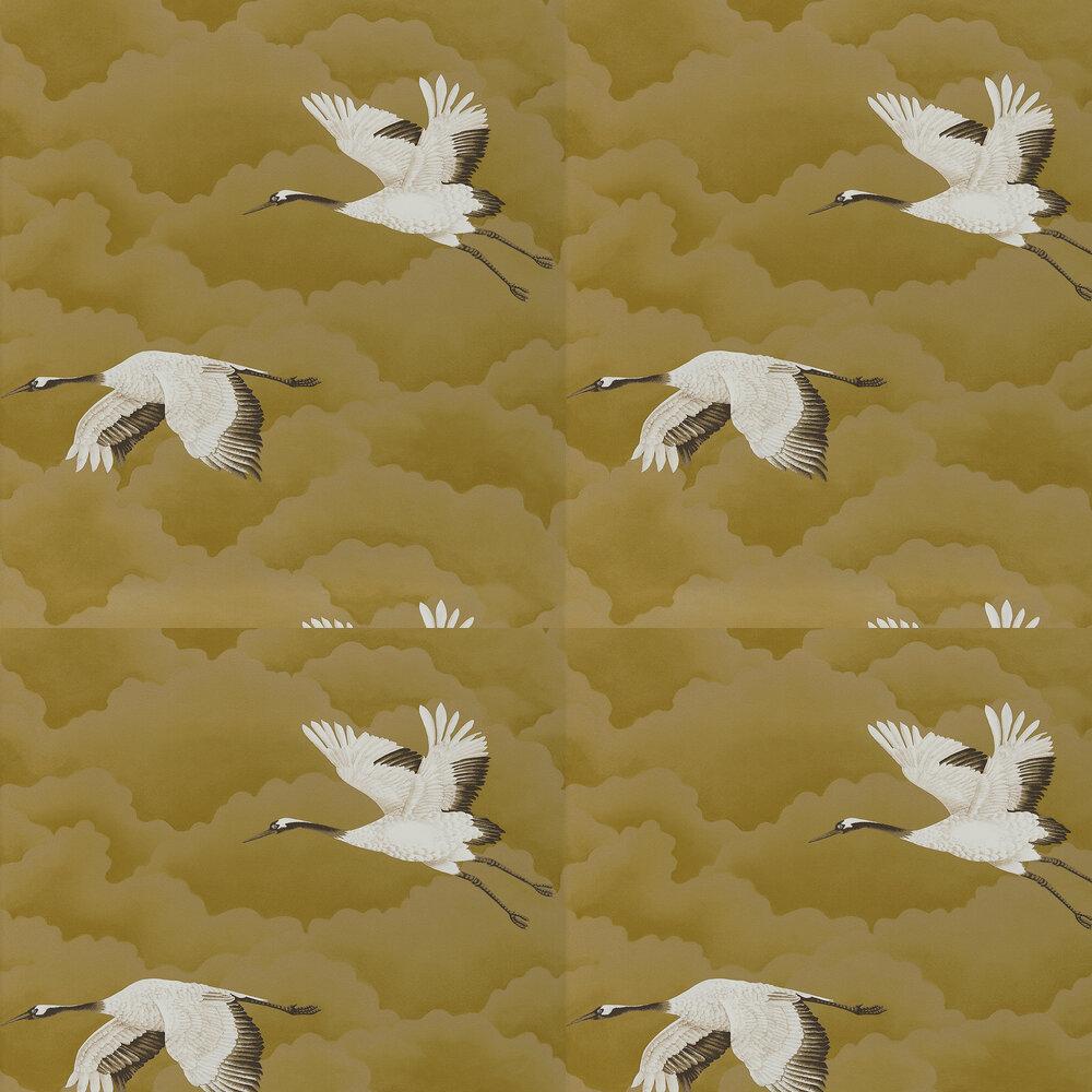 Cranes In Flight Wallpaper - Antique Gold - by Harlequin
