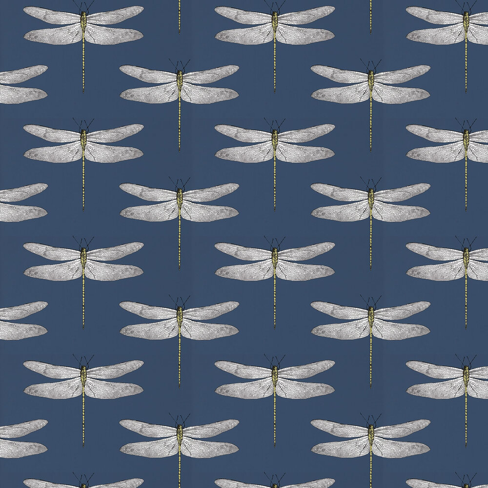 Demoiselle Wallpaper - Ink/Chartreuse - by Harlequin