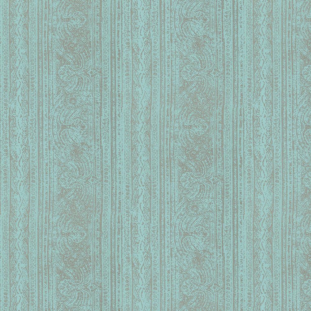 Odisha  Wallpaper - Marine/Platinum - by Harlequin
