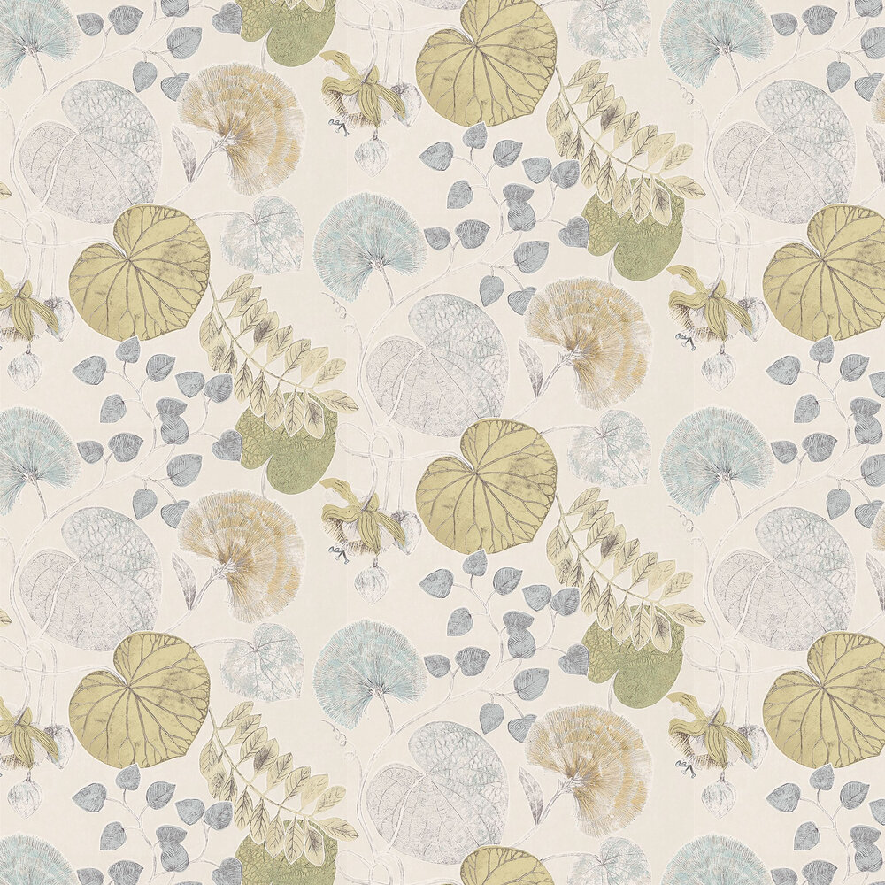 Dardanella Wallpaper - Ink/Chartreuse - by Harlequin