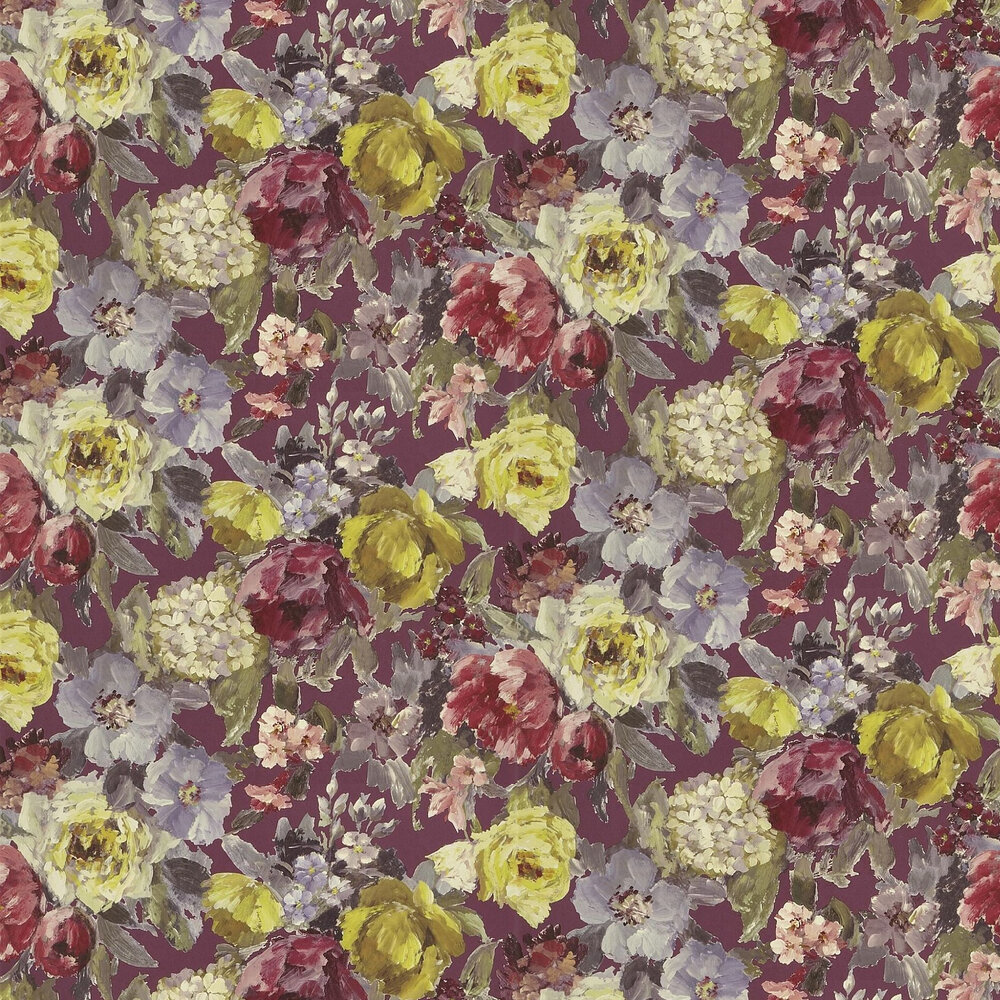 Roseto Wallpaper - Damson - by Designers Guild
