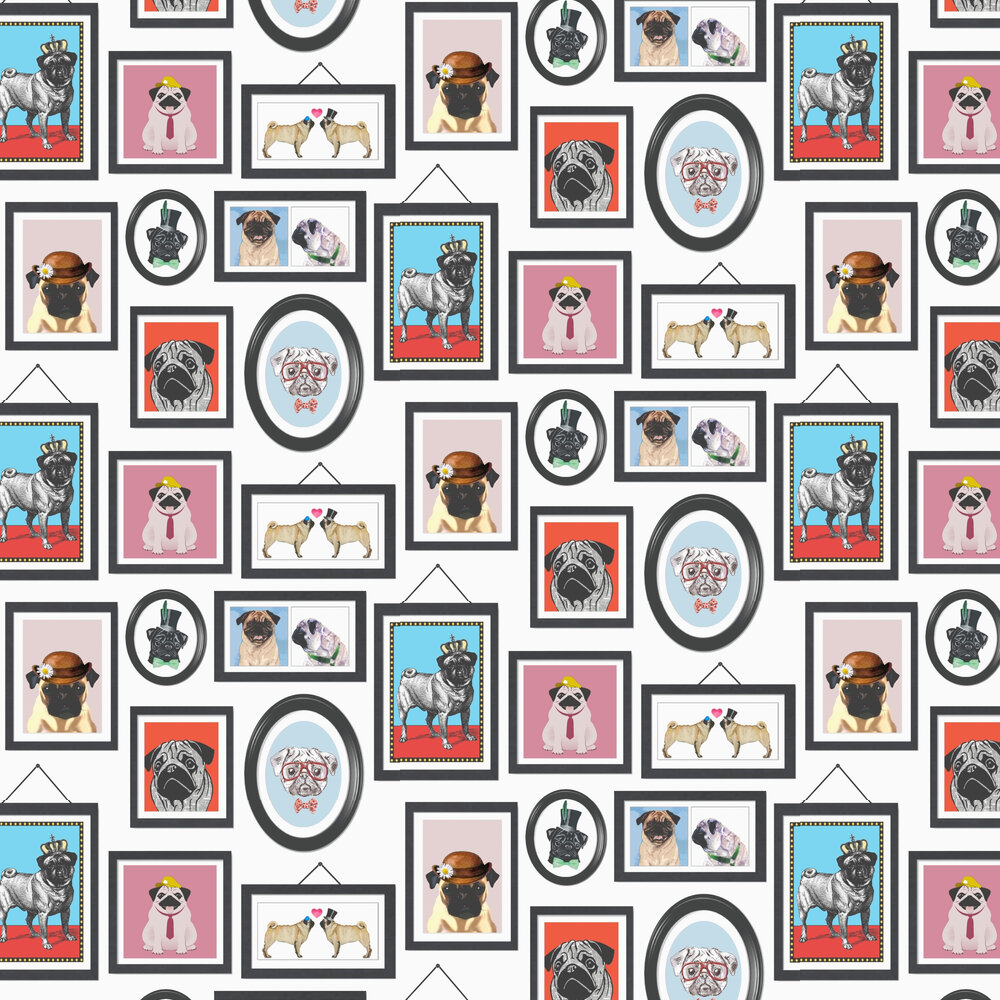 Pugs Life Wallpaper - Multi / White - by Albany