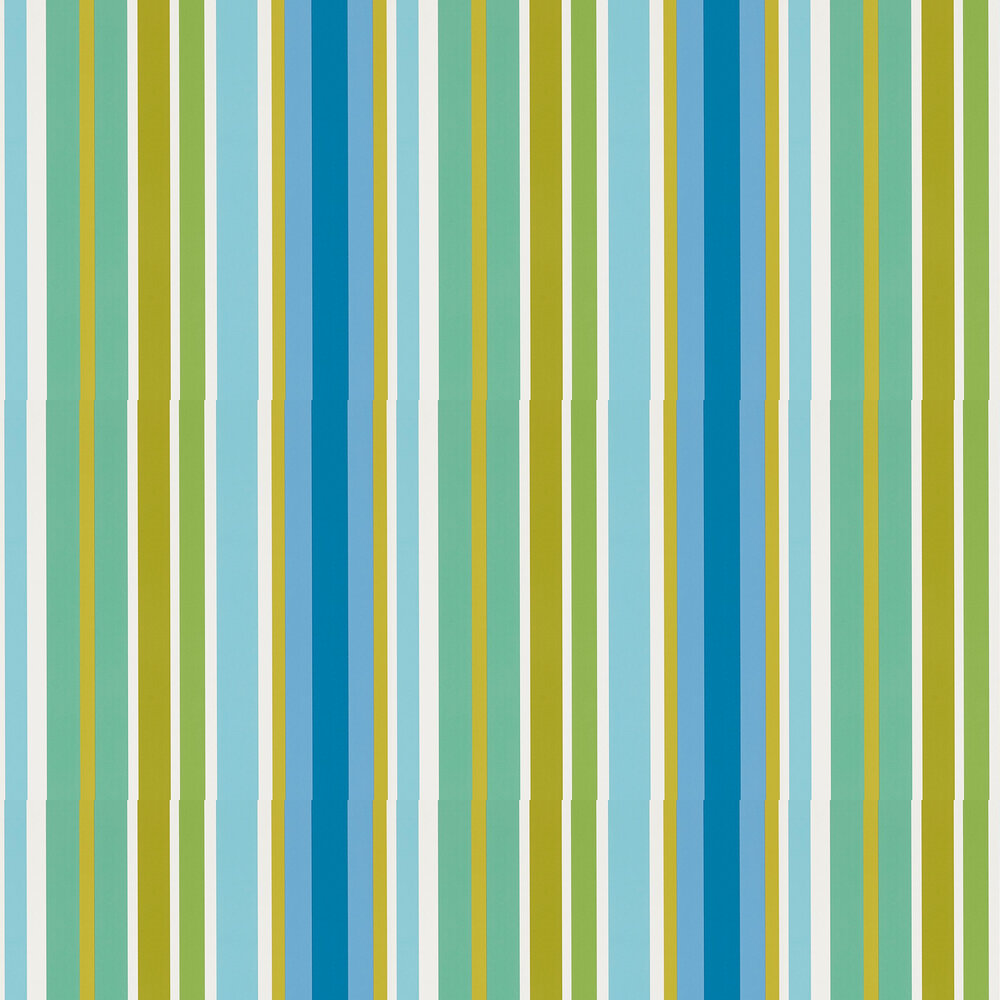 Jelly Tot Stripe Wallpaper - Citrus, Lagoon and Sky - by Scion