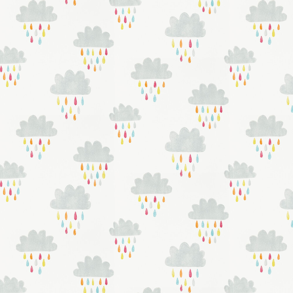 April Showers Wallpaper - Citrus, Lagoon and Poppy - by Scion