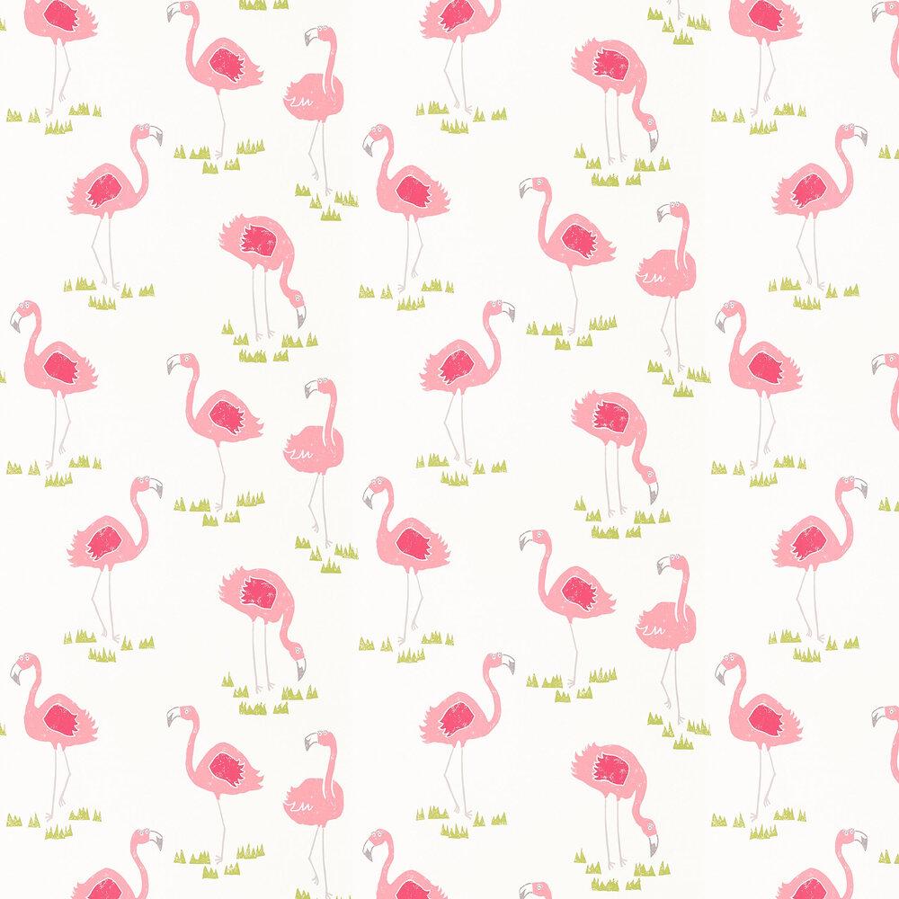 Felicity Flamingo Wallpaper - Blancmange and Chalk - by Scion