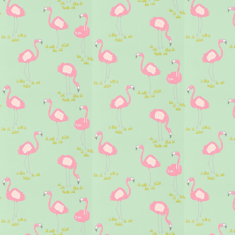 Felicity Flamingo Wallpaper - Raspberry and Pistachio - by Scion