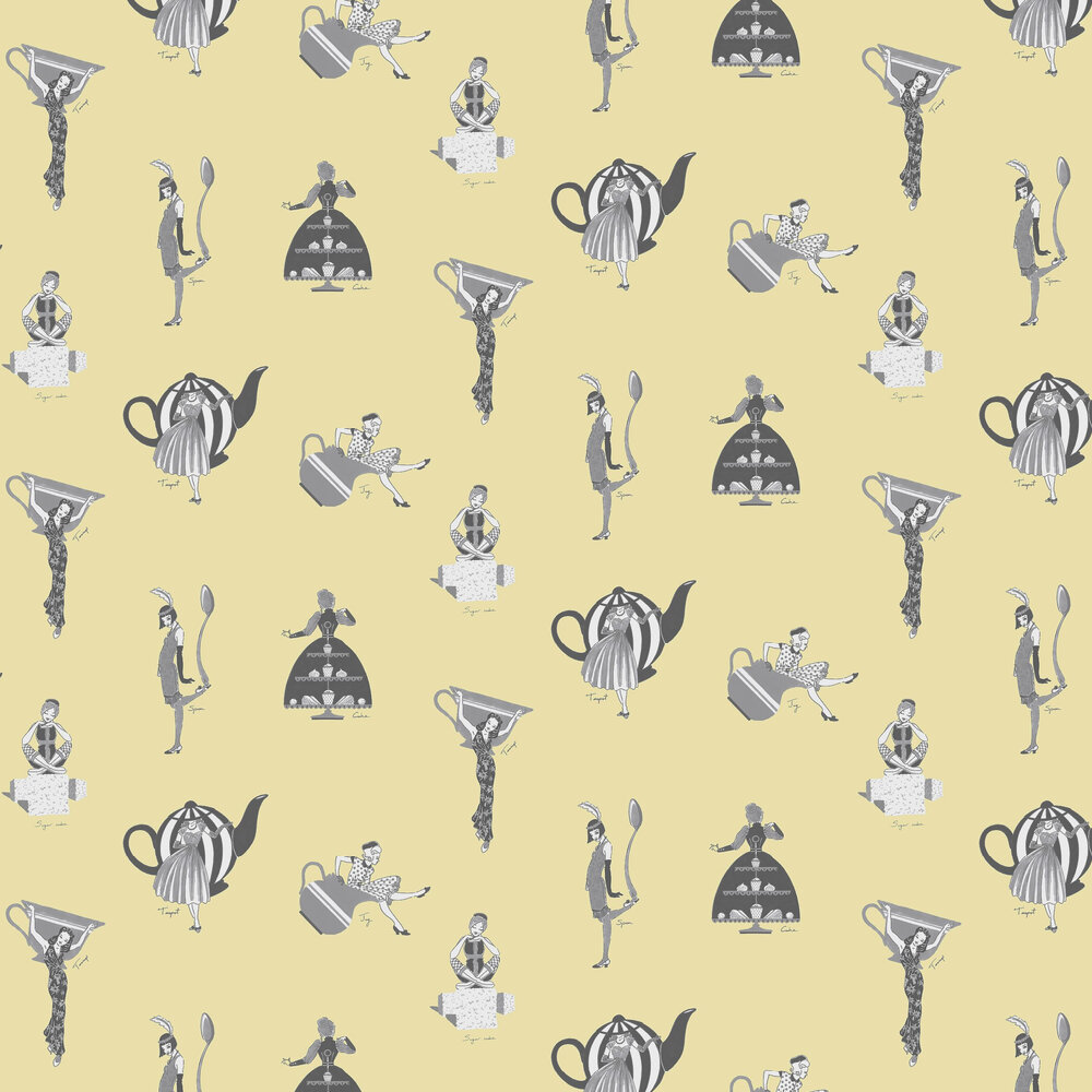 Afternoon Tea Wallpaper - Yellow - by Kerry Caffyn