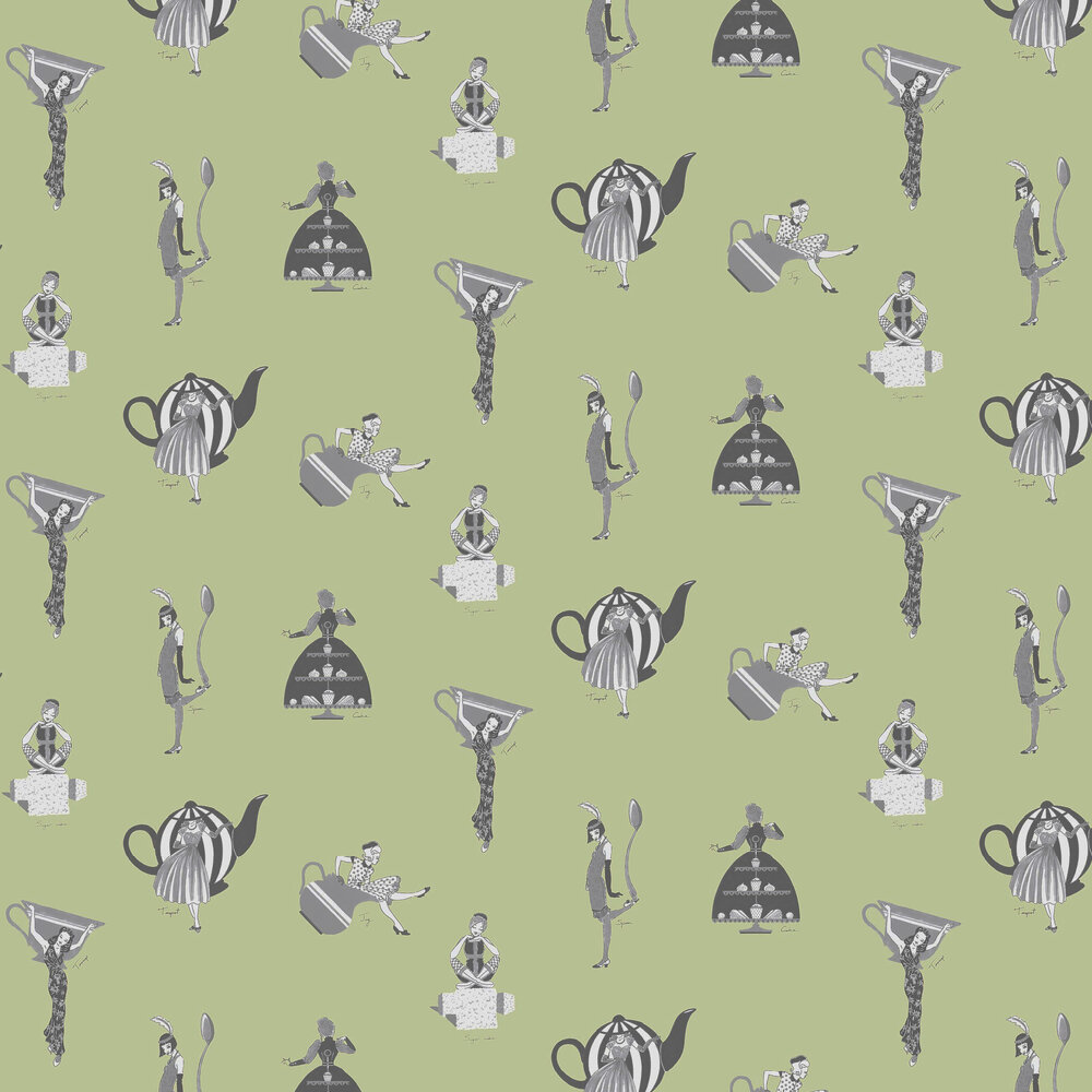 Kerry Caffyn Afternoon Tea Green Wallpaper - Product code: KC2004