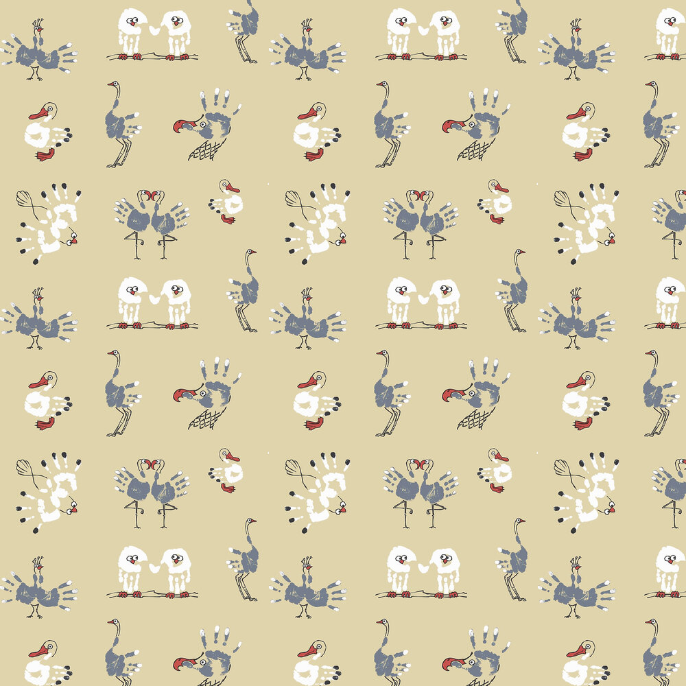 Kerry Caffyn Watch the Birdie Yellow Wallpaper - Product code: KC2005
