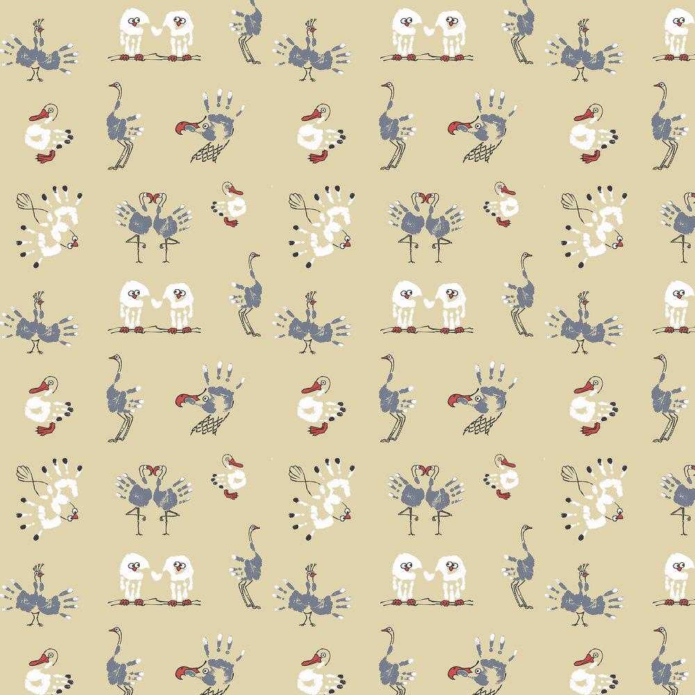 Watch the Birdie Wallpaper - Yellow - by Kerry Caffyn