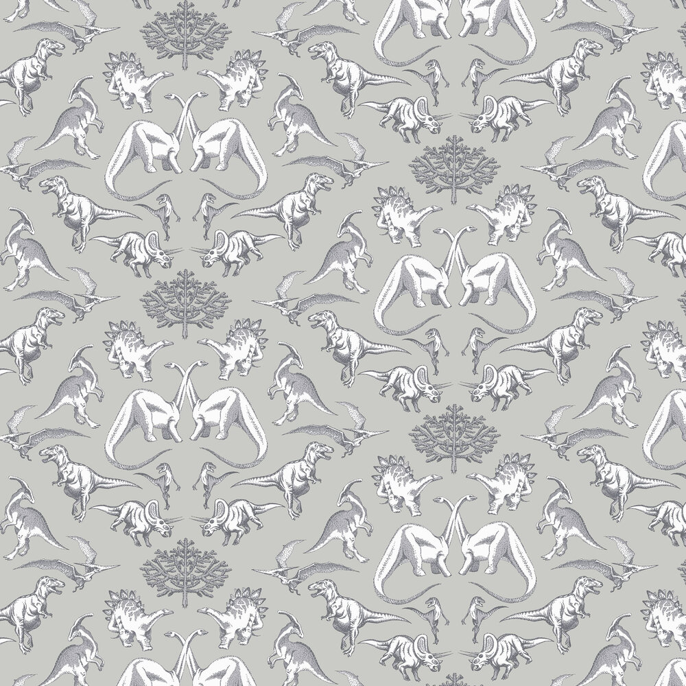 Kerry Caffyn Dotty Dinosaurs Grey Wallpaper - Product code: KC2008