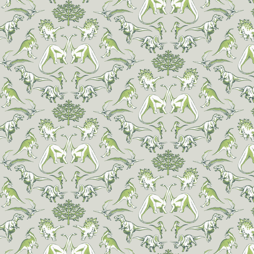 Dotty Dinosaurs Wallpaper - Green - by Kerry Caffyn