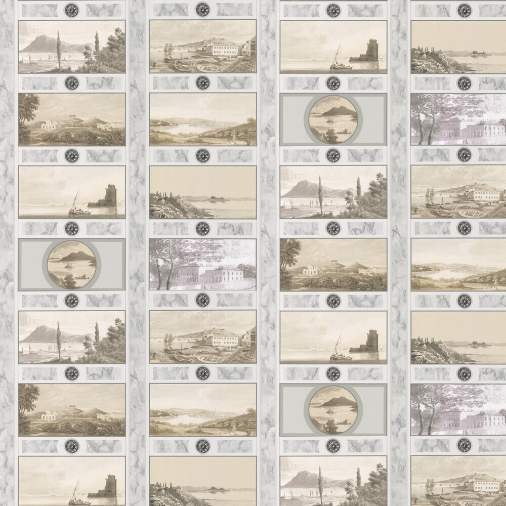 Keightly Folio Wallpaper - Sepia - by Nina Campbell