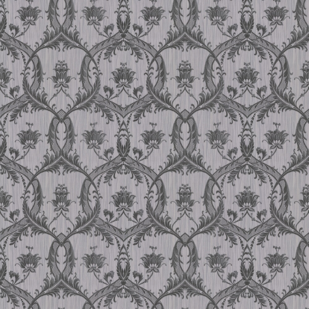 Glitter Trailing Damask Wallpaper - Black / Grey - by Albany