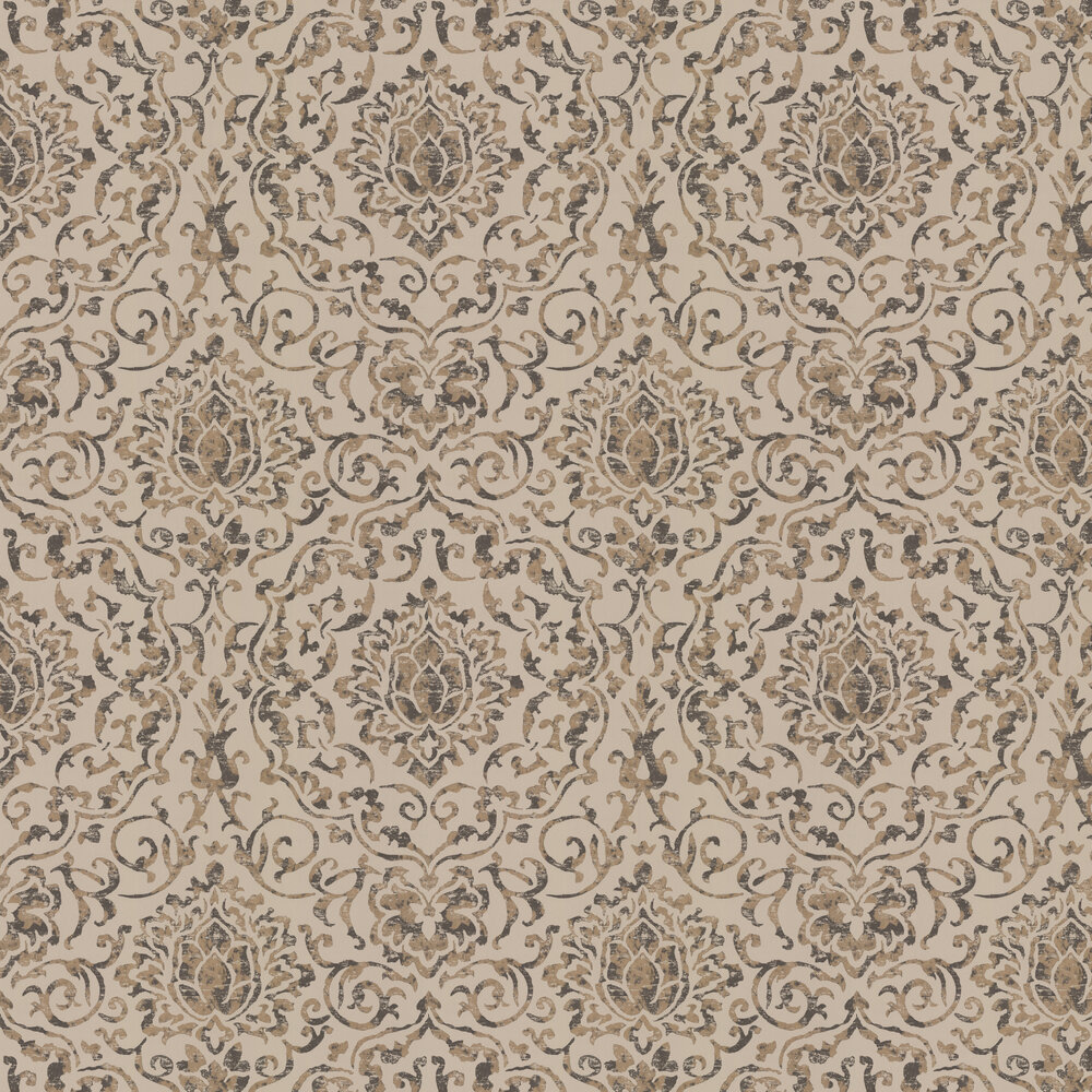 Belem Wallpaper - Chocolate / Gold - by Nina Campbell