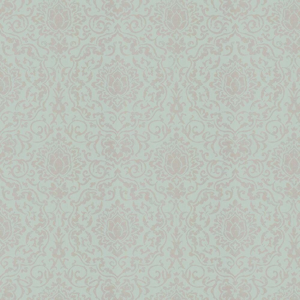 Belem Wallpaper - Aqua / Gilver - by Nina Campbell