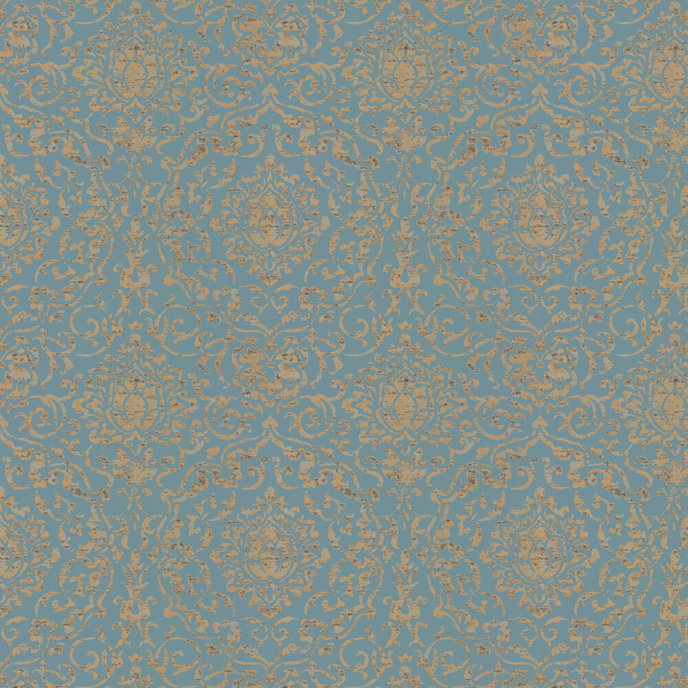 Belem Wallpaper - Topaz / Gold - by Nina Campbell