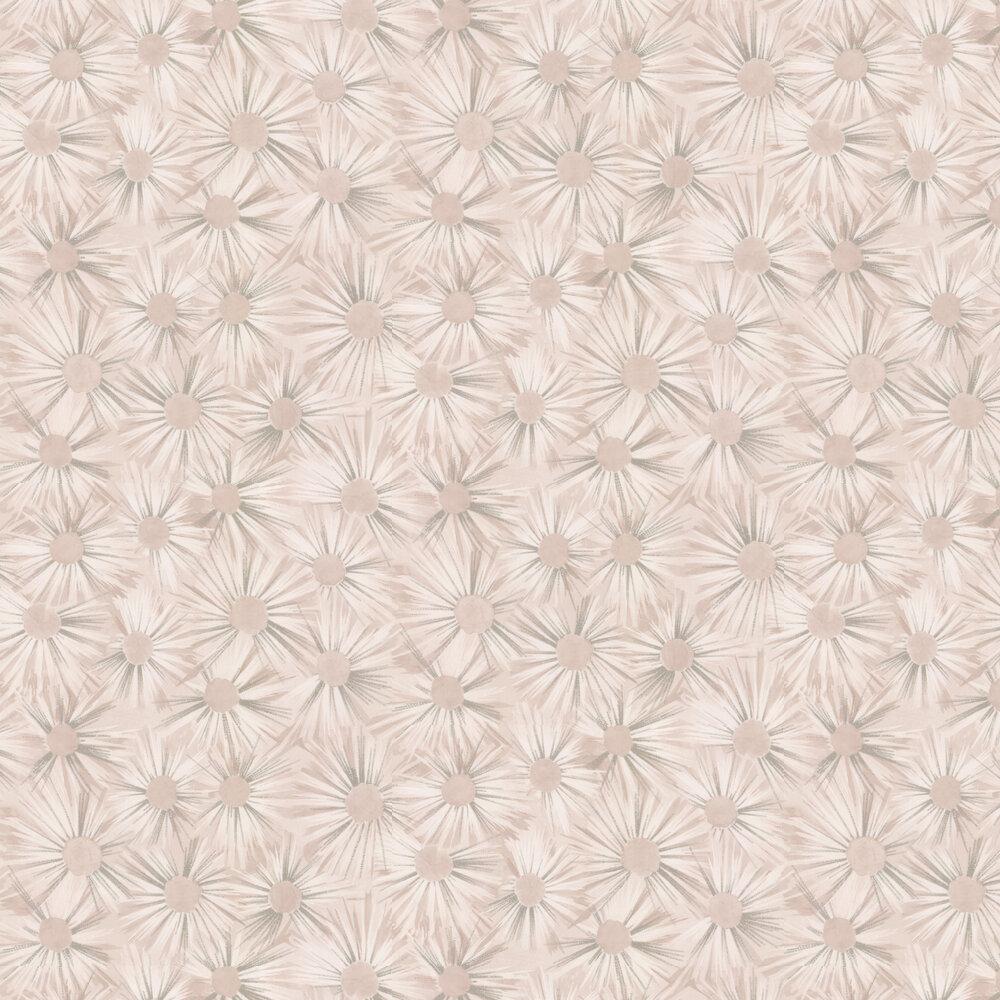 Estella Wallpaper - Shell Pink / Silver - by Nina Campbell