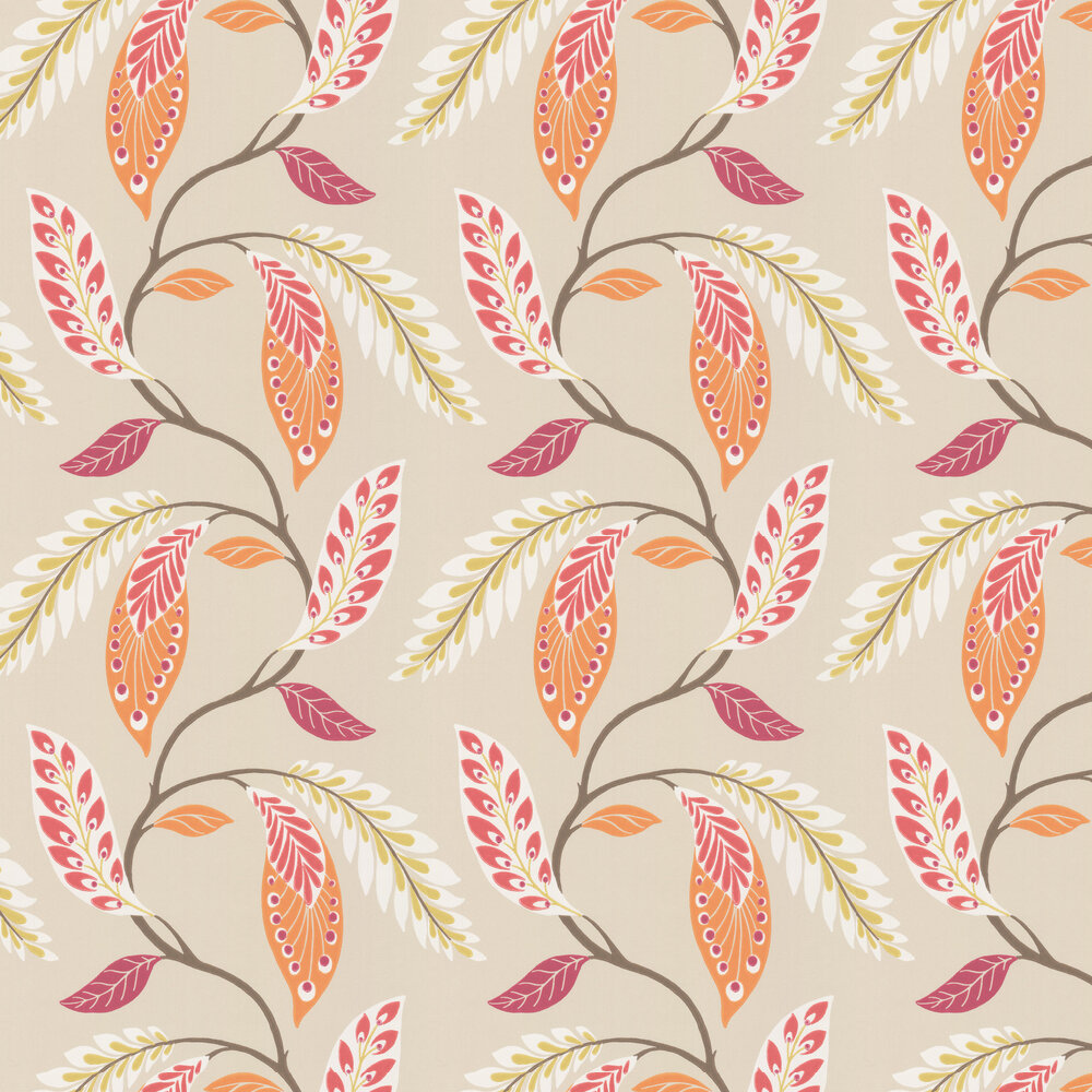 Fontibre Wallpaper - Crimson / Coral - by Nina Campbell