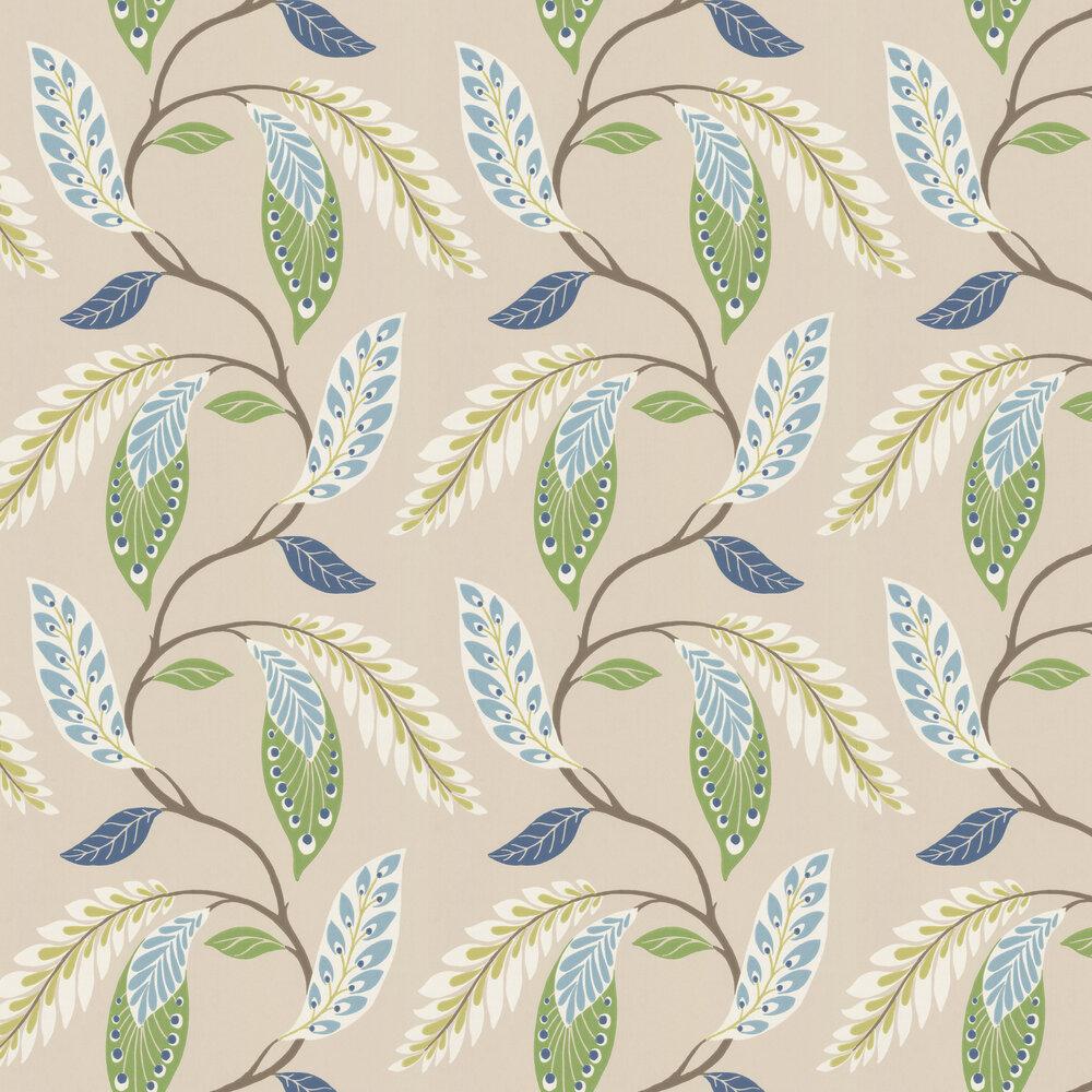 Fontibre Wallpaper - Blue / Green - by Nina Campbell