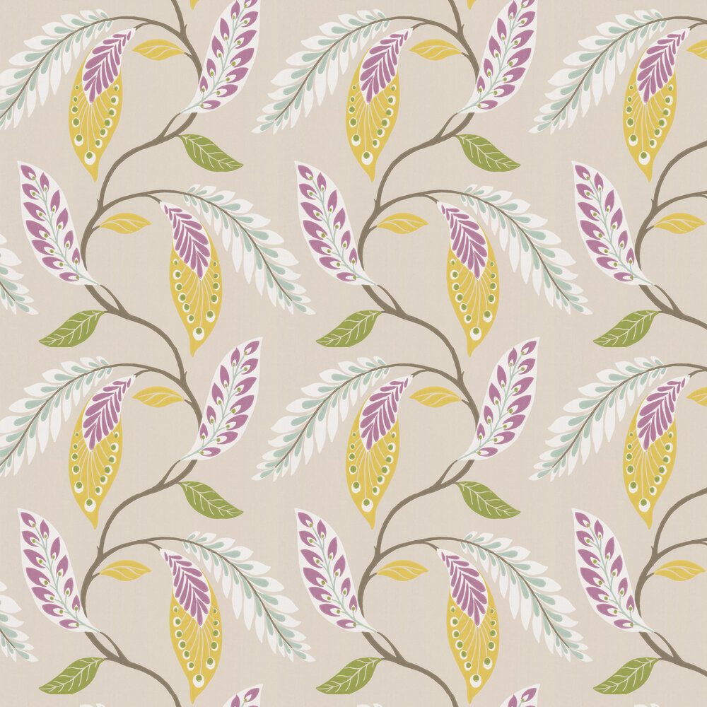 Fontibre Wallpaper - Amethyst / Yellow - by Nina Campbell