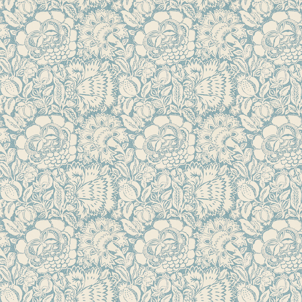 Poppy Damask By Sanderson Indigo Natural Wallpaper 215431