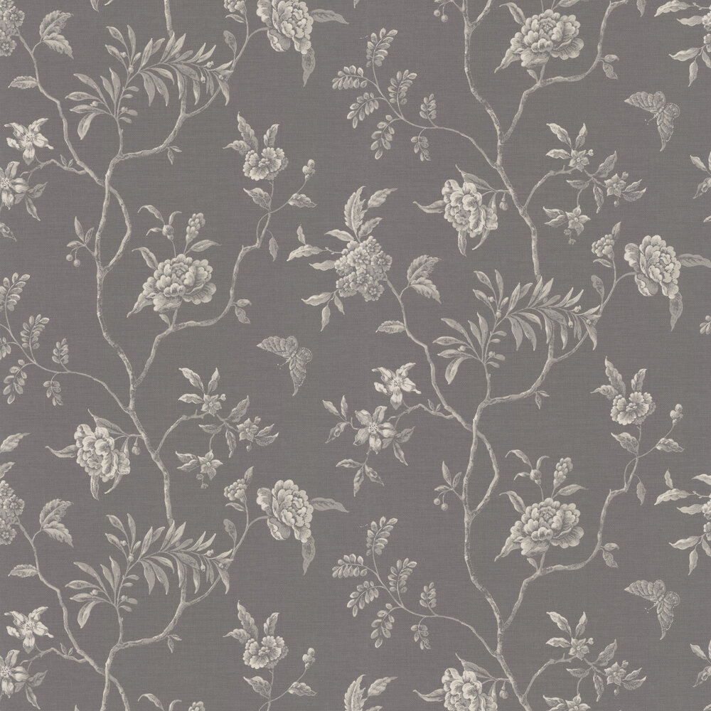 Swedish Tree Wallpaper - Charcoal - by Colefax and Fowler