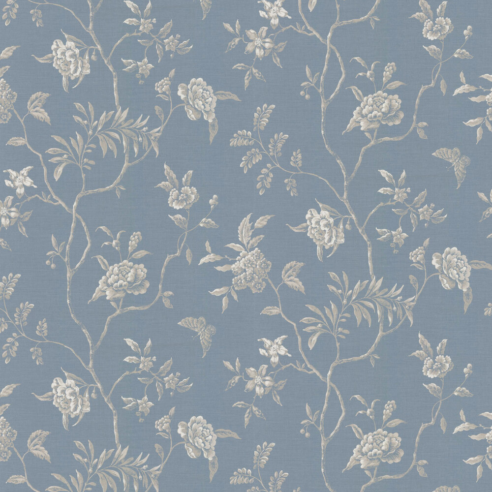 Swedish Tree Wallpaper - Navy - by Colefax and Fowler