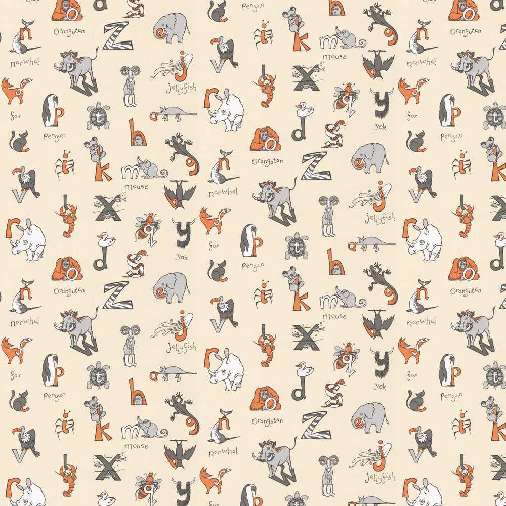 Animal Alphabet Wallpaper - Cream - by Kerry Caffyn