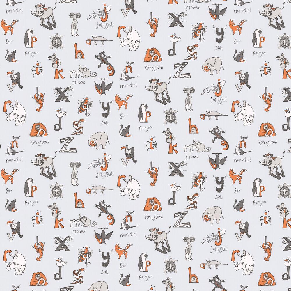 Animal Alphabet Wallpaper - Grey - by Kerry Caffyn