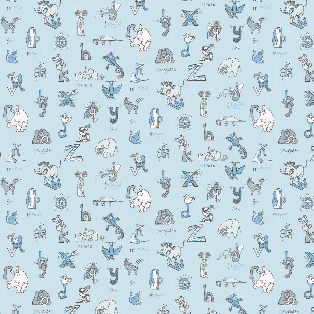 Animal Alphabet Wallpaper - Blue - by Kerry Caffyn