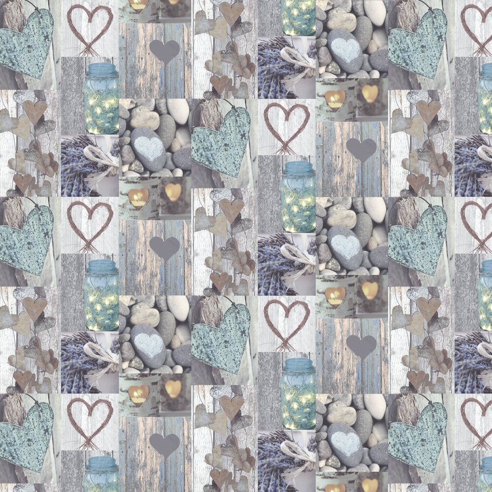Rustic Heart Wallpaper - Natural - by Arthouse