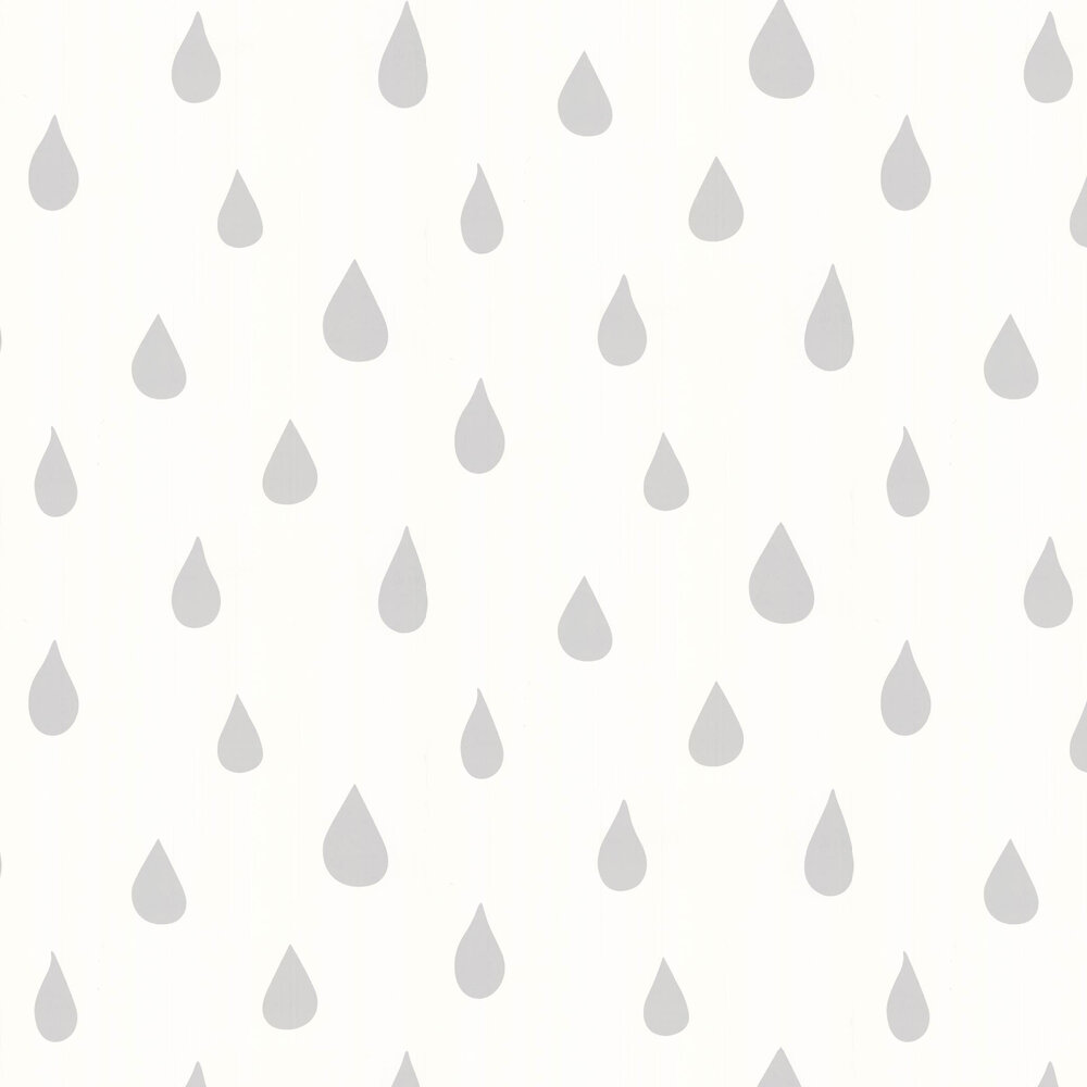 Hibou Home Raindrops S/W Silver / White Wallpaper - Product code: HH01101